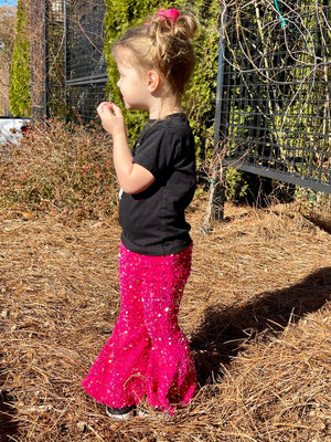Sequin Bell Bottom Pants in Pink