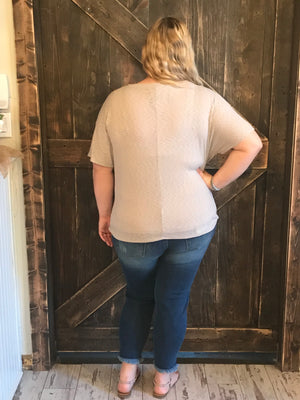 Ribbed Top with Front Knot in Grey