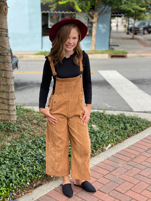 Wide Leg Corduroy Overalls - Camel