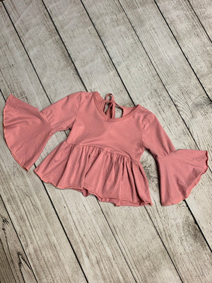 Bell Sleeve Top with Tie on Back in Pink