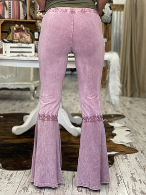 Washed Waffle Bell Bottom Flare Pants in Rose Pink