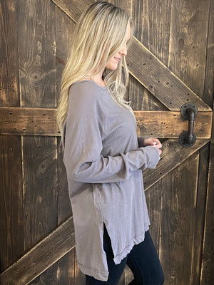 Long Sleeve Knit Oversized Tunic Top