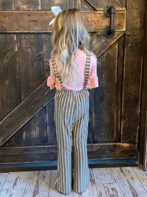 Bell Bottom Jumpsuit in Mocha Stripe