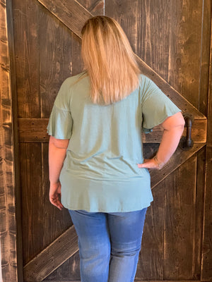Split Tulip Ruffle Sleeve Top in Seafoam