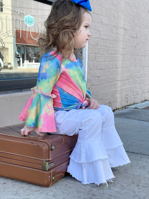Tie Dye Bell Sleeve Top in Pink Mix
