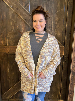 Multicolor Popcorn Cardigan with Dolman Sleeves