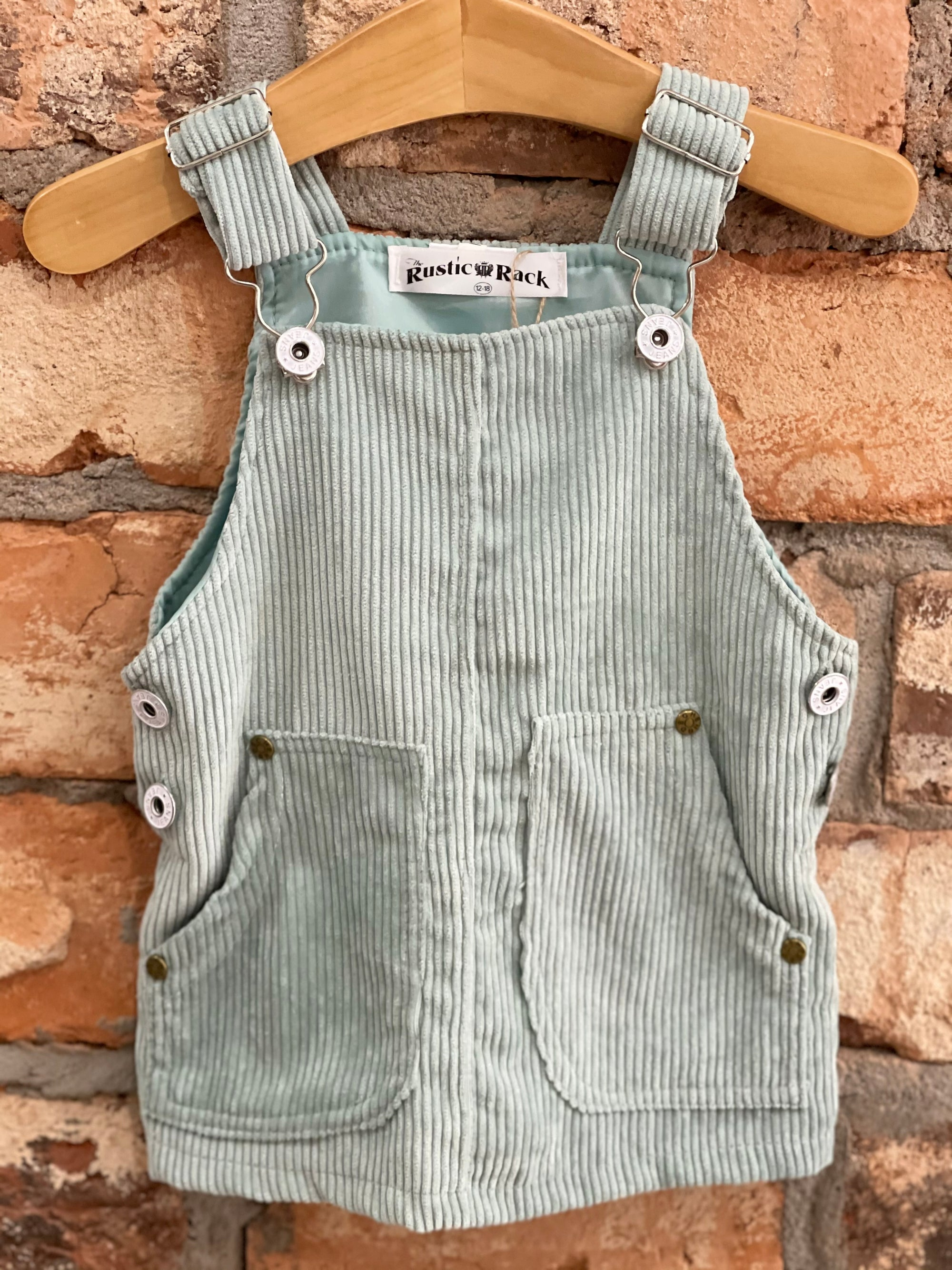 Corduroy Overall Dress in Seafoam