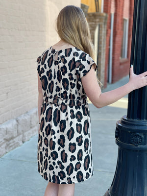 Leopard Dress with Drawstring Waistline