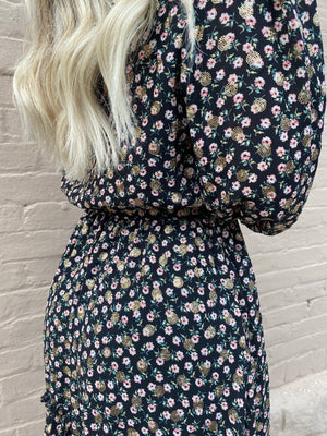 Floral Bubble Sleeve Dress with Waist Tie