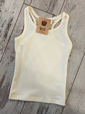 Solid Racerback Tank with Lace Detail in Beige