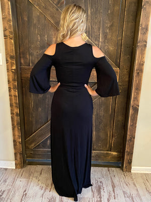 Cold Shoulder Maxi Dress with Waist Tie