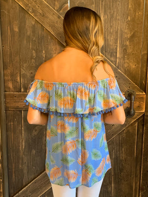 Tropical Print On/ Off Shoulder Top