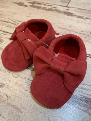 Slip On Moccasin with Bow in Dark Pink