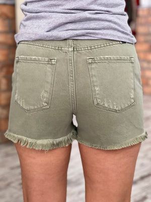 Frayed Hem Shorts in Olive