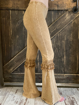 Fringed Crochet Washed Bell Bottom Flare Pants in Camel