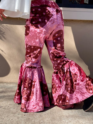 Velvet Heart Printed Bell Bottom Pants - Pink