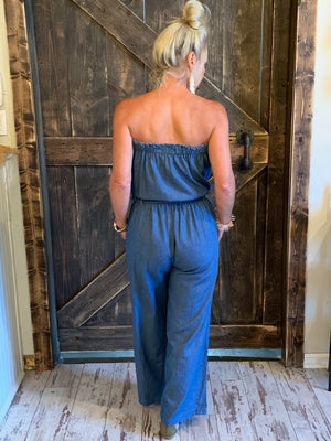 Denim Tube Top Jumpsuit with Tie