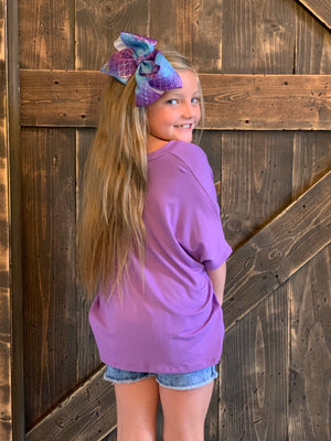 Short Sleeve Top with Front Knot in Lavender