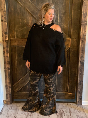 Camo High Rise Bell Bottom Jeans