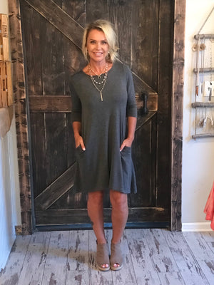 Solid Dress with Pockets in Grey
