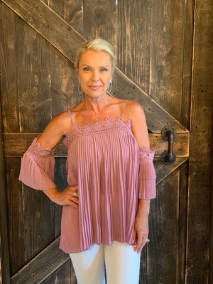 Accordion Off Shoulder Top with Crochet Detail