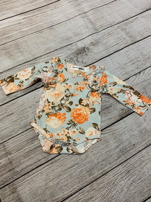 Floral Long Sleeve Romper with Ruffle Detail