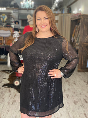 Sequin Dress with Bubble Sleeves
