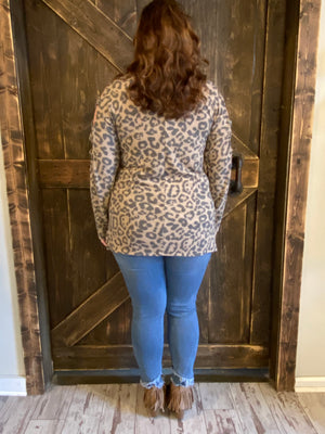 Hacci Knit Caged Sleeve Leopard Top