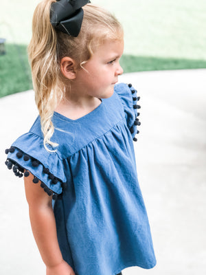 Denim Top with Tassel Flutter Sleeves in Blue