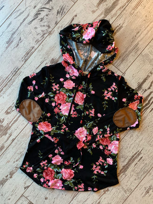 Floral Print Hooded Pullover