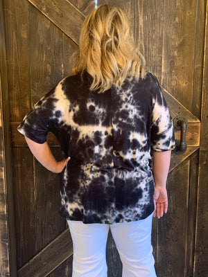 Tie Dye Top with Front Knot in Black
