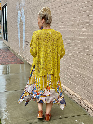 Crochet Cardigan with Fringe Detail in Mustard