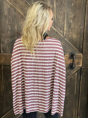 Oversized Striped Boxy Tunic Top