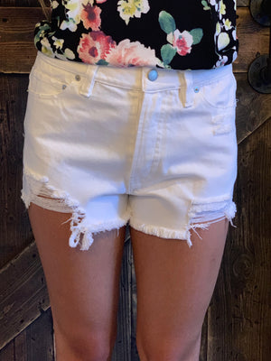 Distressed Denim Shorts in White