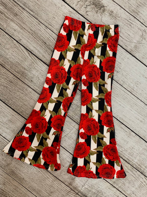 Striped Rose Print Bell Bottom Pants