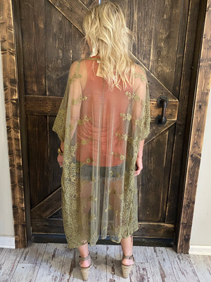 Open Front Lace Duster Cardigan in Olive