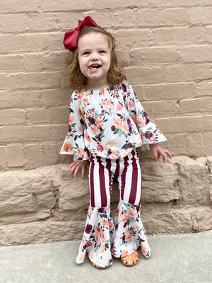 Floral & Striped Bell Bottom Set with Bow