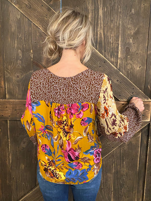 Multi Floral Print Top with Bishop Sleeves