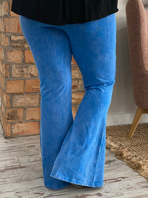 Washed Bell Bottom Flare Pants in Ocean Blue