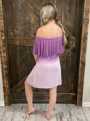 Ombre On/ Off Shoulder Dress with Ruffle Overlay