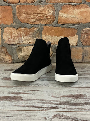 Faux Suede Sneakers in Black