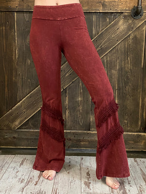 Mineral Wash Bell Bottom with Fringe in Wine