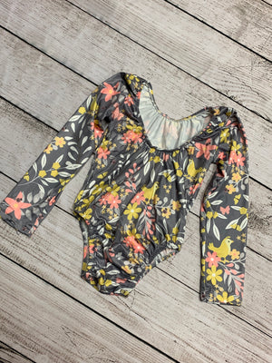 Grey Floral Long Sleeve Leotard