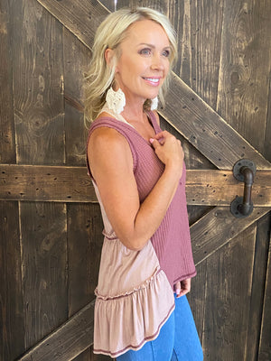 Waffle Knit Tank Top with Contrast Back-Maroon