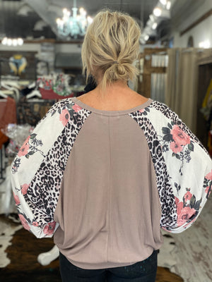 Floral & Leopard Mixed Print Dolman Sleeve Top