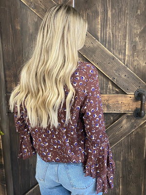 Floral Ruffle Bell Sleeve Top in Burgundy