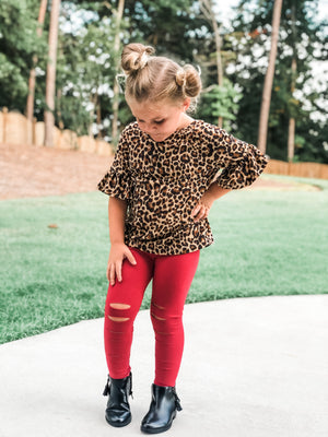 Distressed Leggings in Burgundy