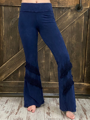 Mineral Wash Bell Bottom with Fringe in Dark Blue
