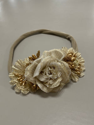 Gold Floral Nylon Headband