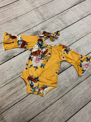 Floral Romper with Bell Sleeves & Headband Set